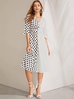 Twist Front V Neck Polka-dot Print Dress