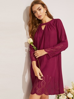 Pleated Keyhole Neck Scalloped Laser Cut Tunic Dress