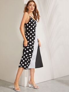 Cut-and-Sew Polka Dot Cami Dress