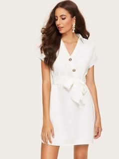 Slit Curved Hem Buttoned Shirt Dress