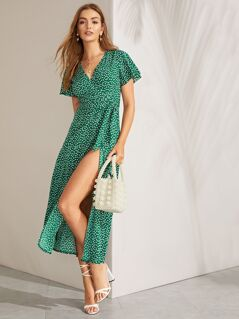 Split Thigh Surplice Wrap Belted Dress