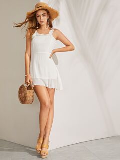 Frilled Trim Solid Thick Strap Dress