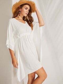 Lace Applique Drawstring Waist Poncho Dress