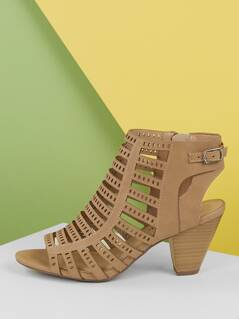 Perforated Strappy Stacked Heel Open Toe Sandals
