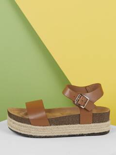 Buckled Ankle Open Toe Footbed Flatform Sandals