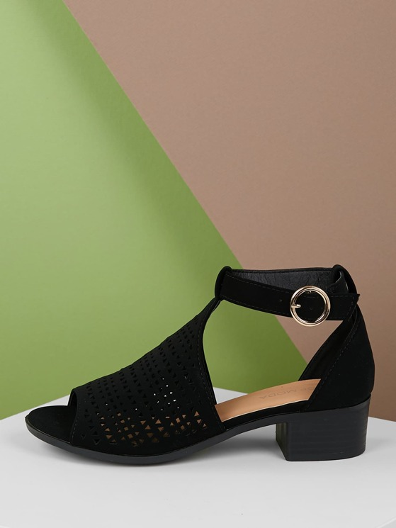 0877386409f Open Toe Mini Laser Cut Out Chunky Heel Sandals