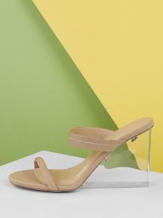 Elastic Band Plexiglass Wedge Sandals