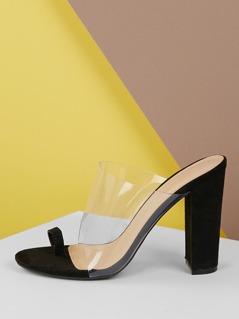 Toe Loop Wide Vinyl Strap Chunky Heel Sandals