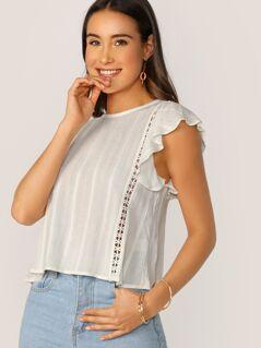 Back Keyhole Lace Trim Ruffle Sleeve Blouse