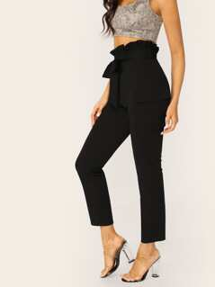 Ruffle Waist Tie Cargo Pocket Stretch Pants
