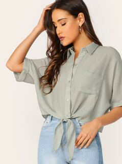 Button Front Tie Hem Cuffed Sleeve Cropped Shirt