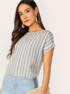 Striped Tie Back Rolled Sleeve Top