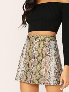 Button Front Belted Waist Snake Print Mini Skirt