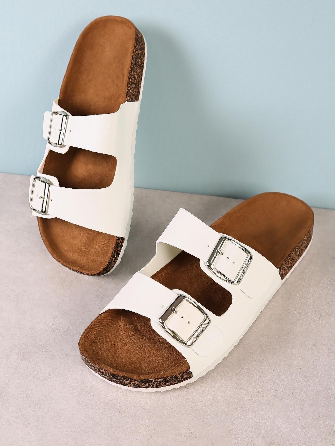 Купить Двойной пряжкой пробковые плоские сандалии-белые, null, SheIn
