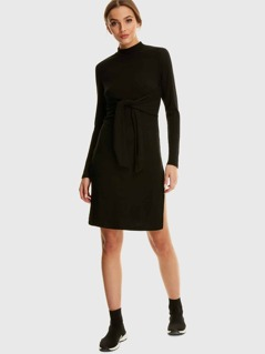 Rib-knit High Split Self Tie Dress