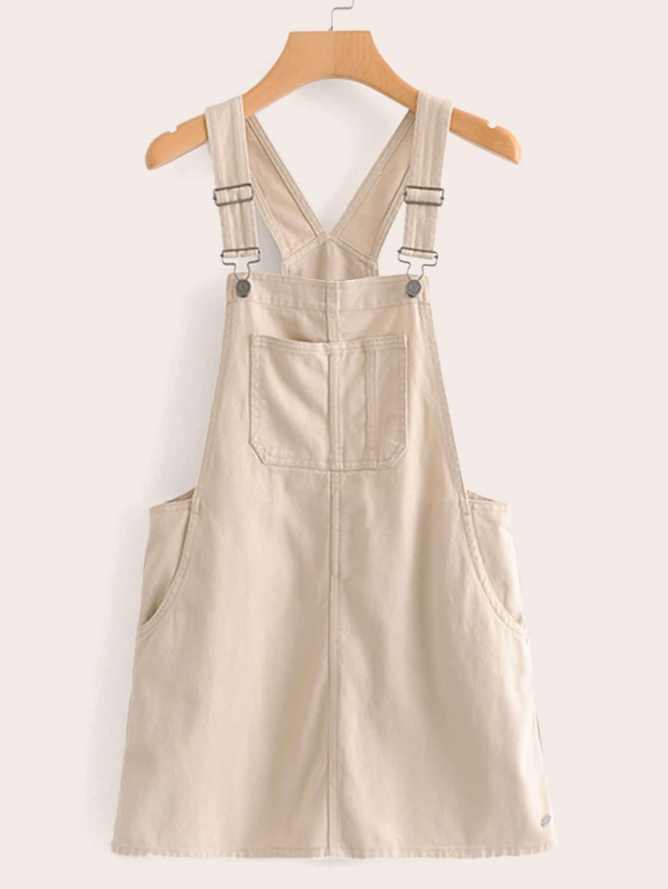 Однотонное платье-сарафан с карманом SheIn