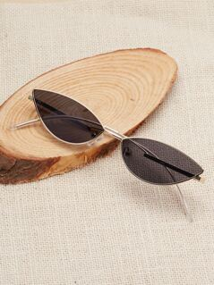 Metal Rim Slim Colored Cat Eye Sunglasses