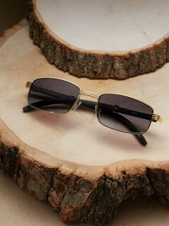 Wood Detail Slim Rectangle Sunglasses