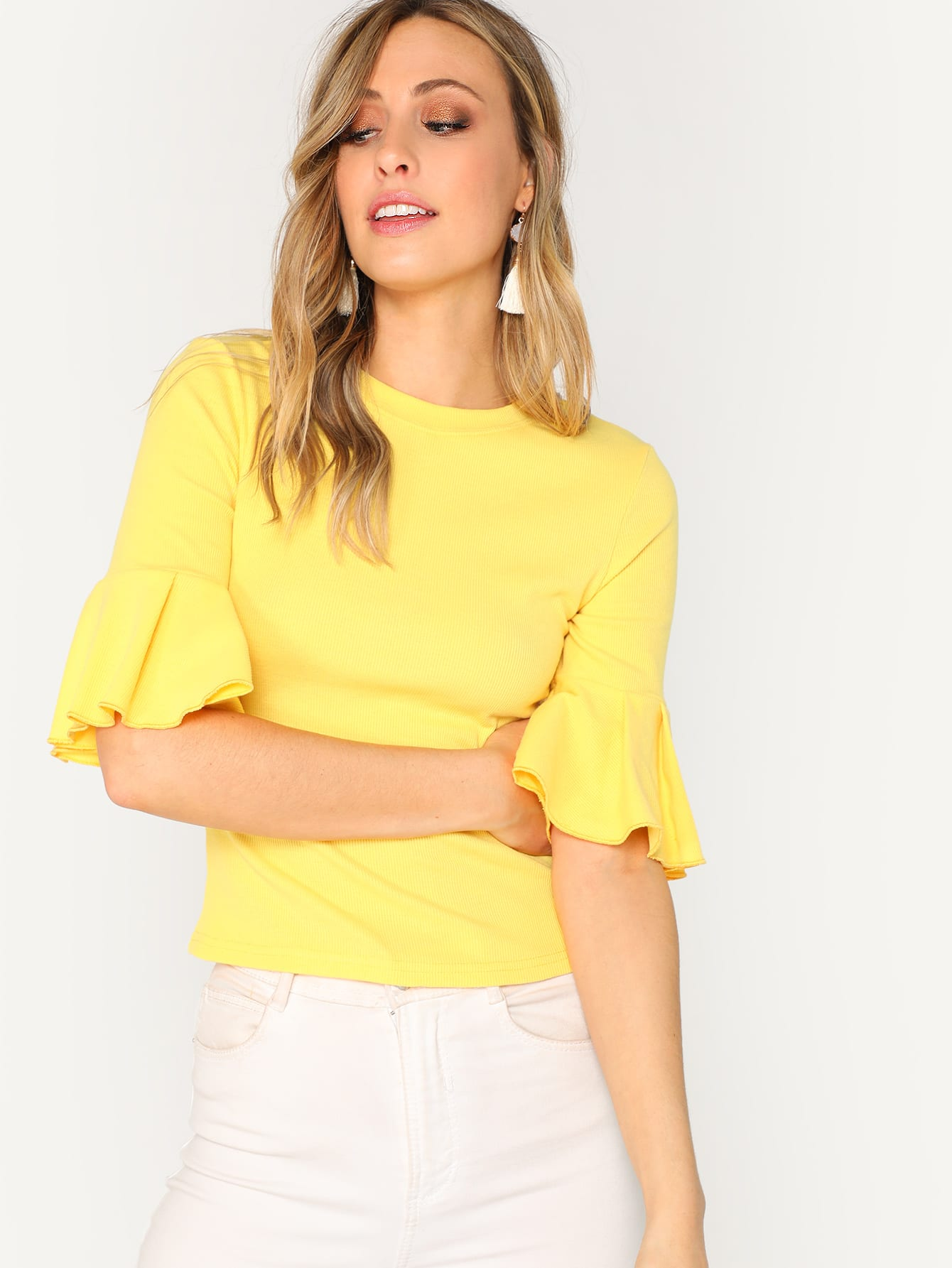 Купить Однотонная футболка с оригинальными рукавами, Katie Fitzsimmons, SheIn