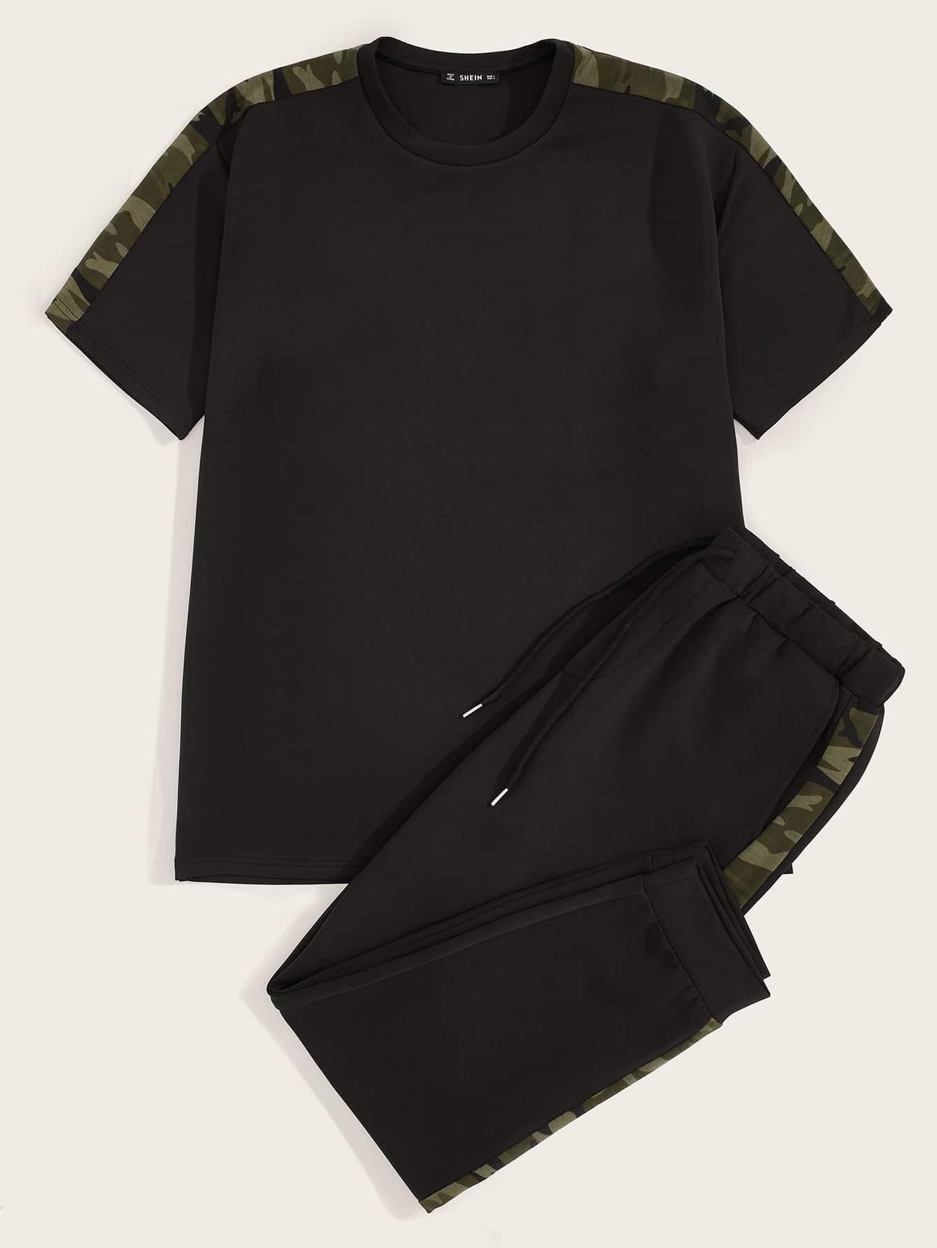 Купить Мужской камуфляжный топ и брюки с кулиской комплект, null, SheIn