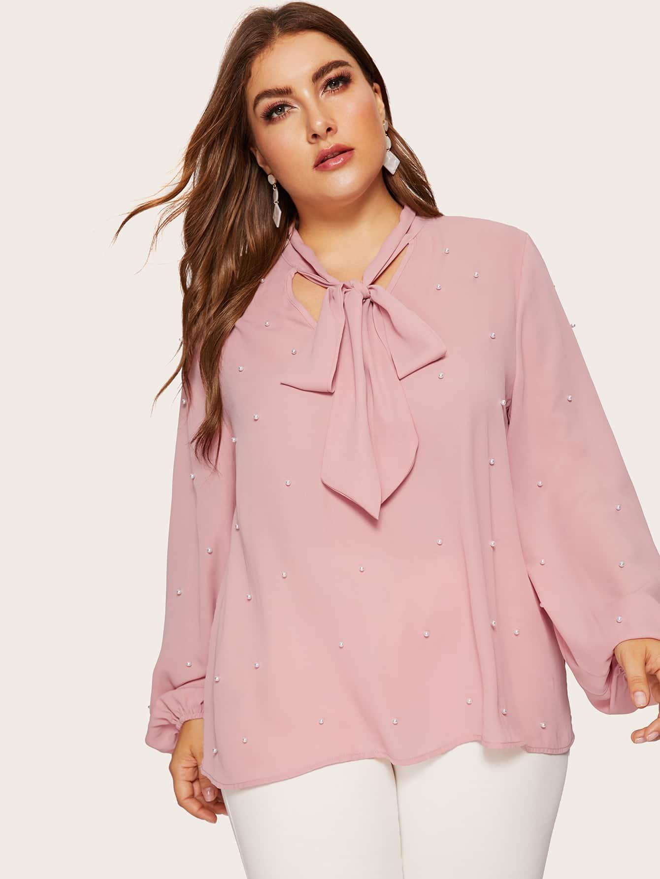 Купить Размера плюс блуза с завязкой на шее бисерами и оригинальным рукавом, Franziska, SheIn