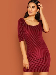 Scoop Neck Ribbed Velvet Bodycon Dress