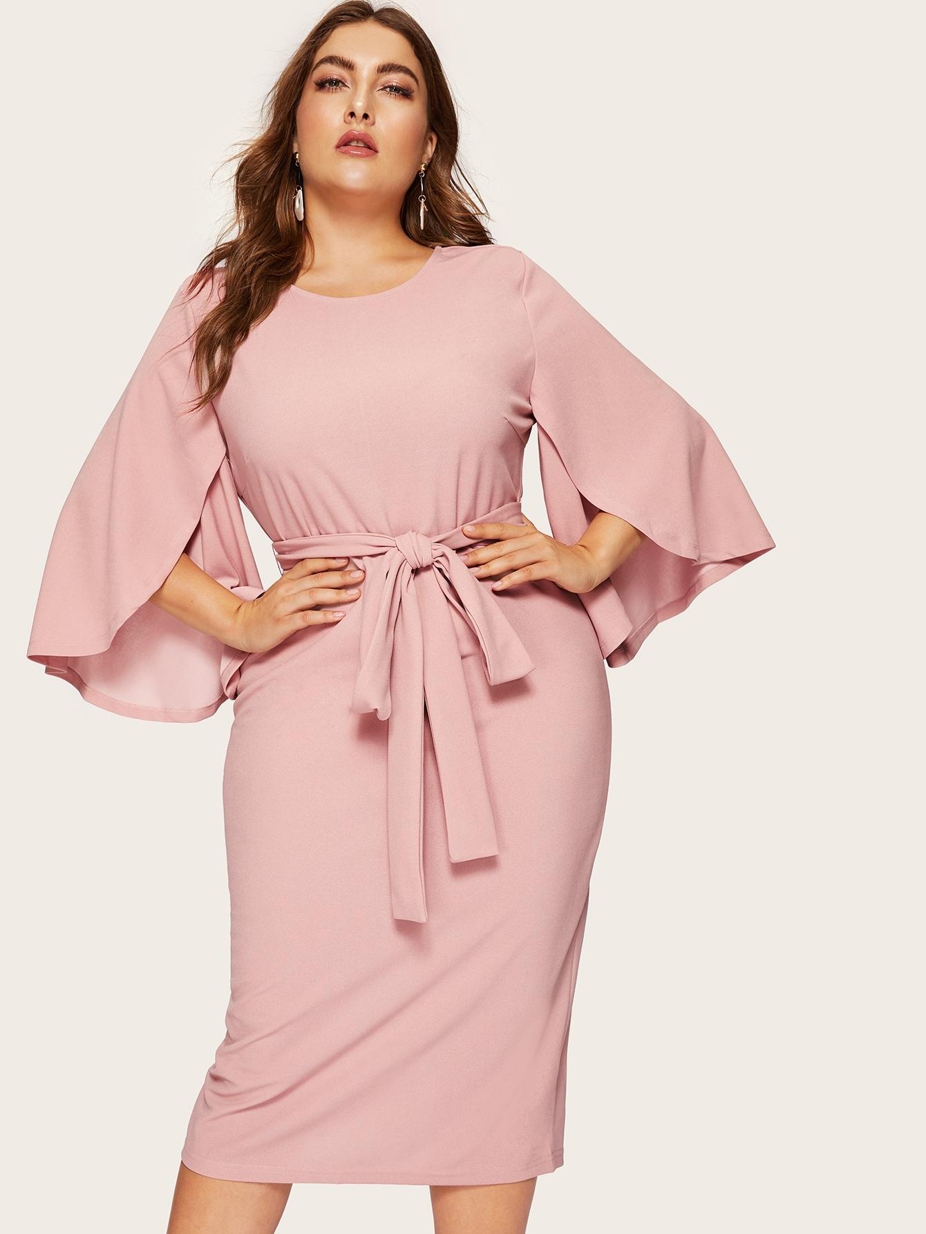 Размер плюс платье-карандаш с разрезом на рукавах