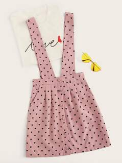 Heart Print Pinafore Skirt