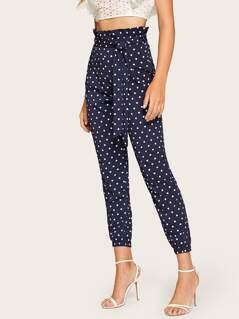 Paperbag Waist Belted Polka Dot Crop Pants