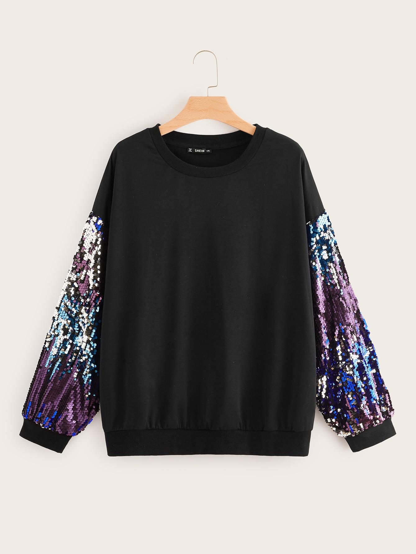 Купить Размер плюс пуловер с контрамтным блестящим рукавом и заниженной линией плеч, null, SheIn