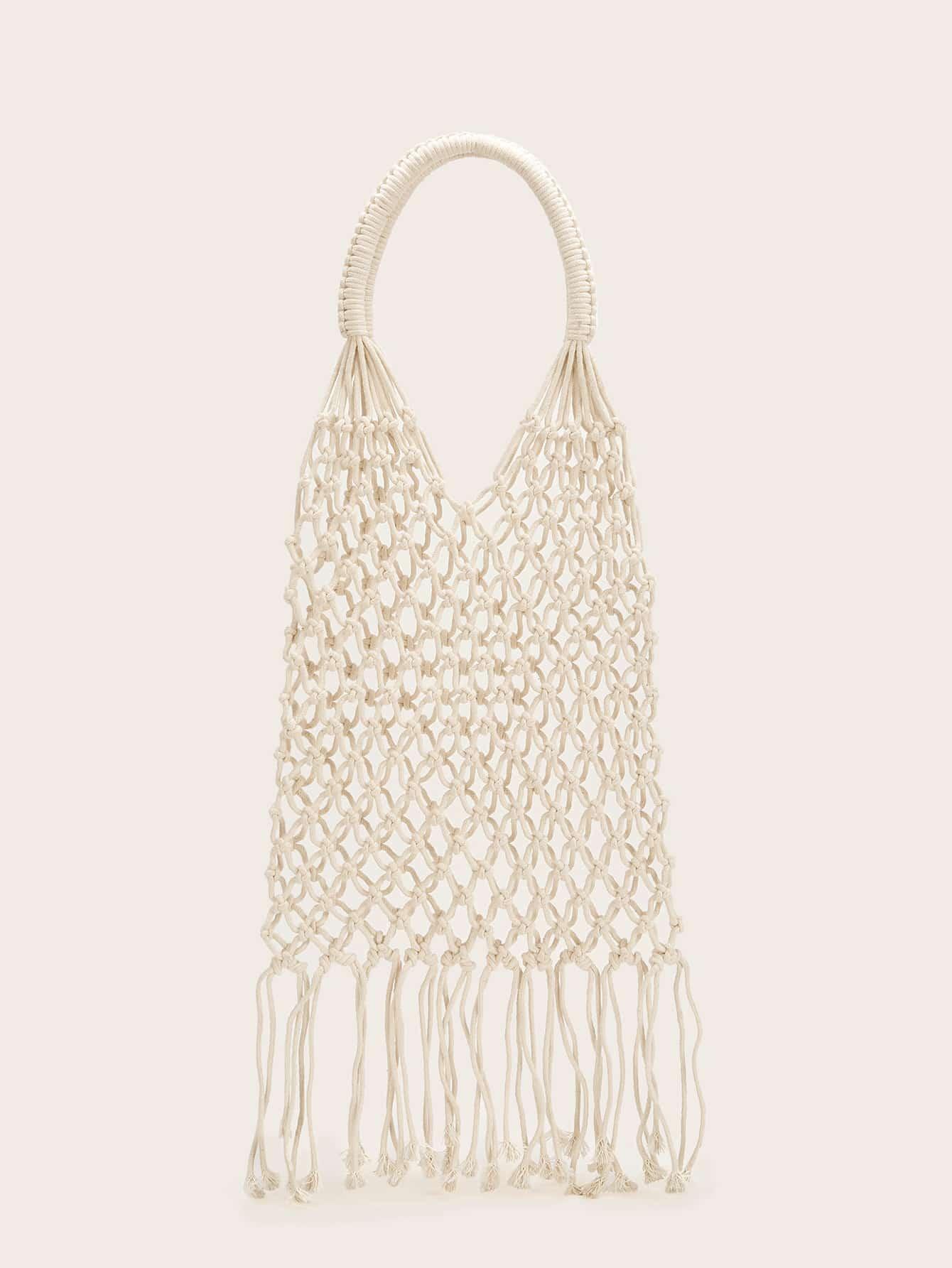 Купить Большая сумка в сеточку с бахромой, null, SheIn