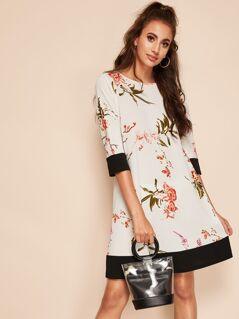Botanical Print Two Tone Dress