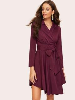 Notch Collar Surplice Wrap Asymmetrical Dress