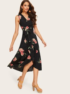 Mixed Print Tie Side Surplice Wrap Dress