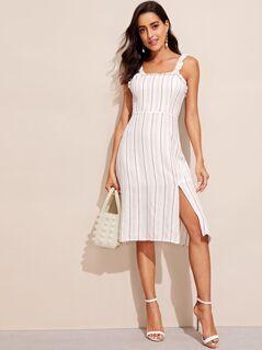 Ruffle Detail Split Striped Dress