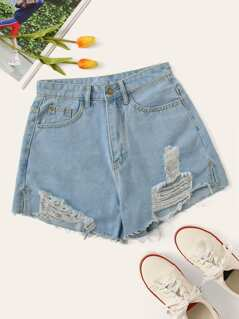 Destroyed Ripped Denim Shorts