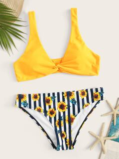 Twist Front Top With Mixed Print Bikini Set