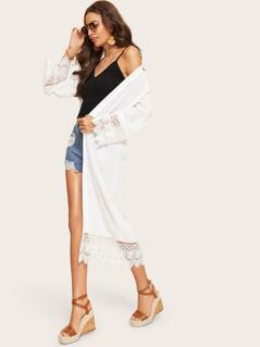 Lace Trim Open Front Longline Kimono