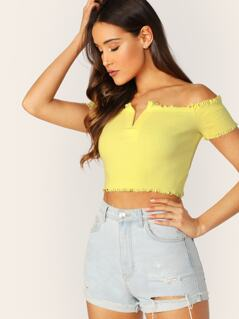 V-Wired Neck Raw Edge Off The Shoulder Cropped Top
