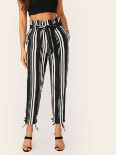 Tie Hem Striped Belted Slim Fit Trousers