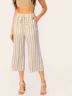 Elastic Waist Striped Wide Leg Gaucho Pants