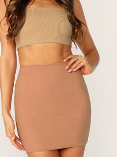 Back Zip High Waisted Mini Pencil Skirt