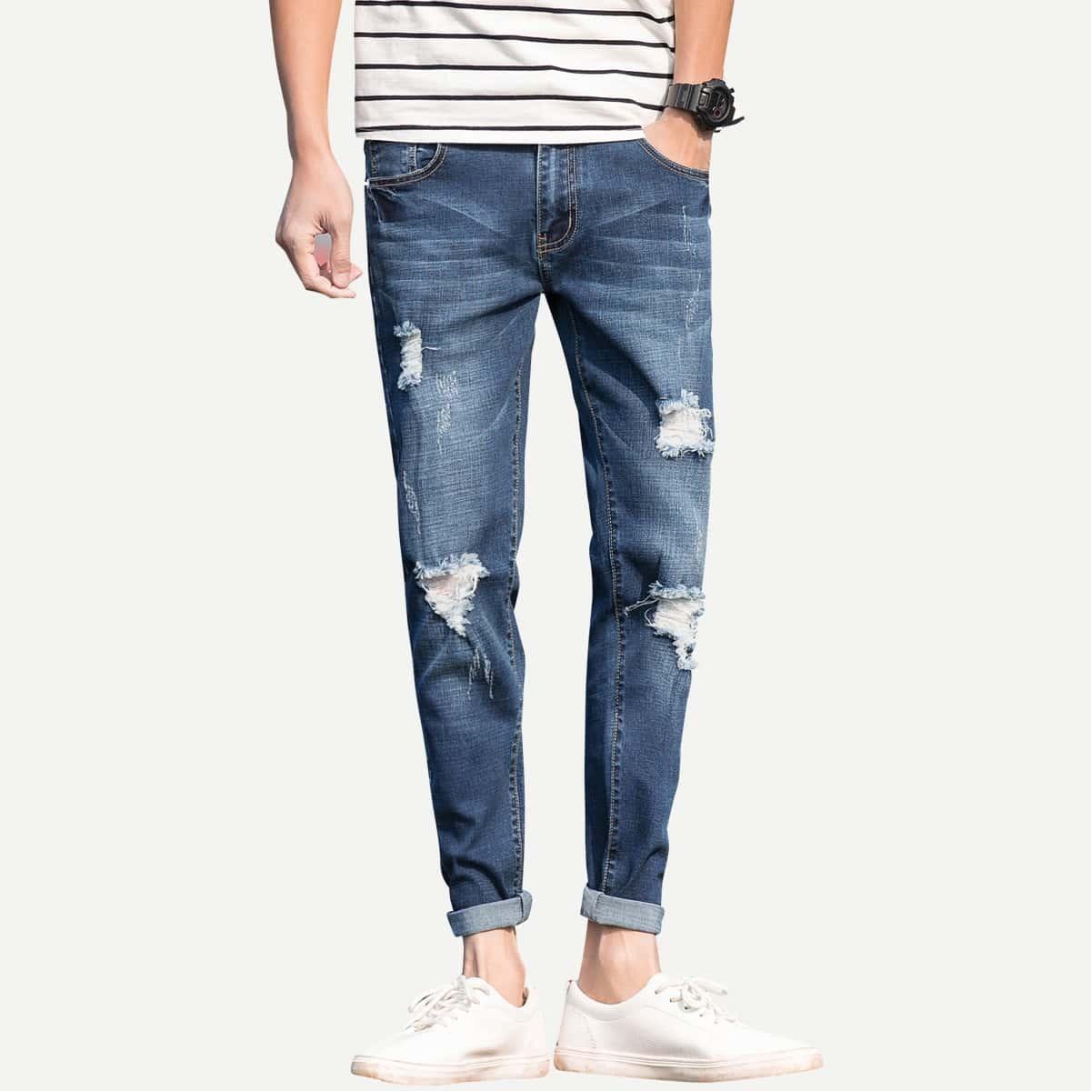 Marine Casual Vlak Heren Jeans Gescheurd