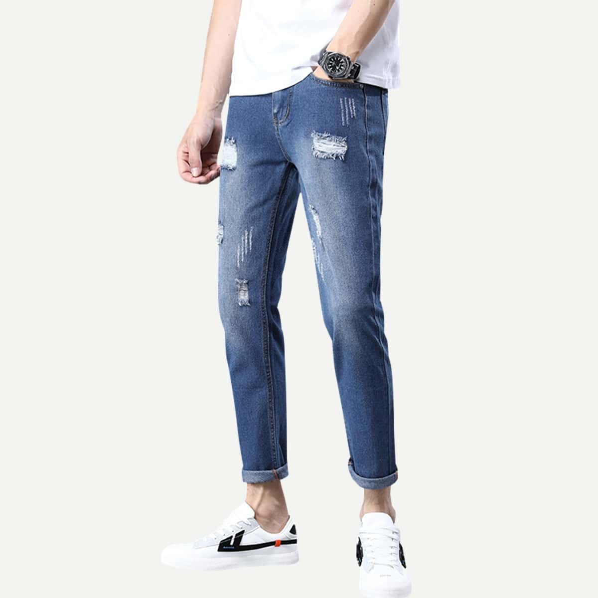 Marine Casual Vlak Heren Jeans Patched