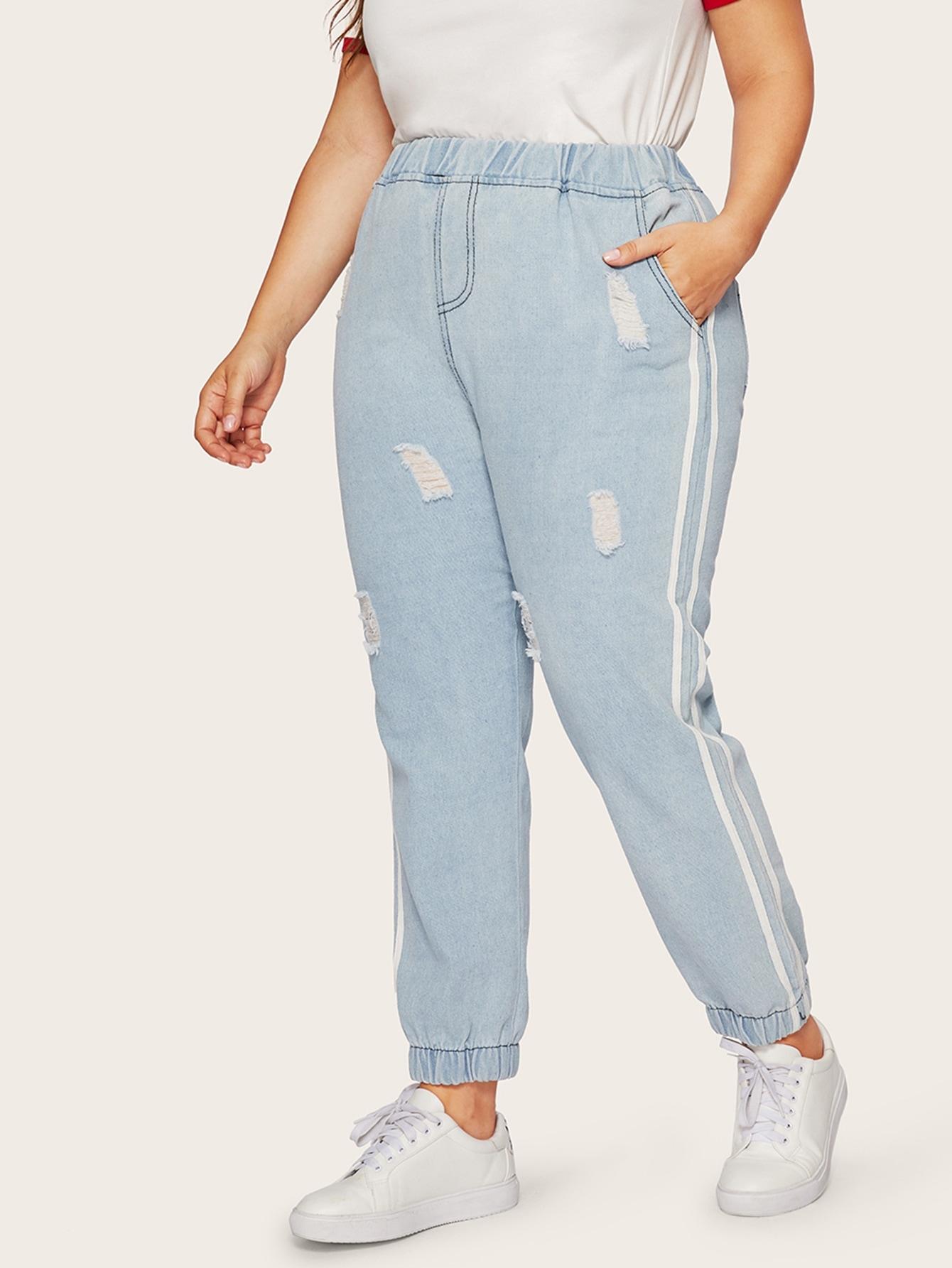 Купить Размера плюс рваные джинсы на резинке, Franziska, SheIn
