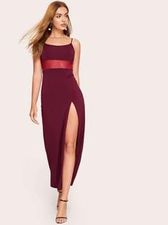 Mesh Insert High Split Cami Dress