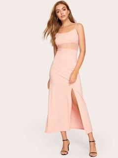 Mesh Insert Split Cami Dress