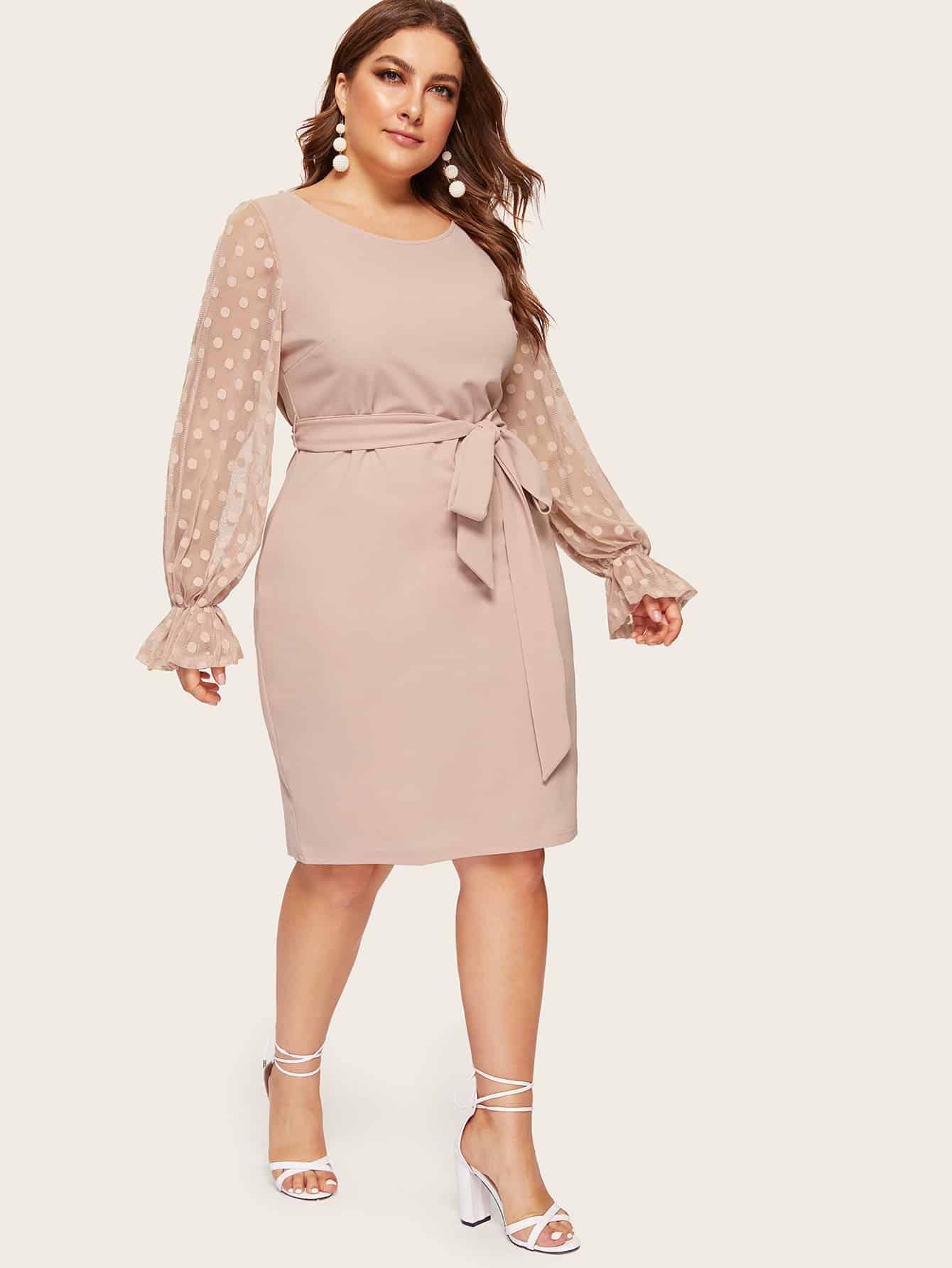 Купить Размер плюс платье-карандаш в горошек с поясом и оригинальным рукавом, Franziska, SheIn