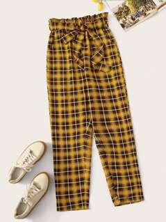Paperbag Waist Belted Plaid Peg Pants