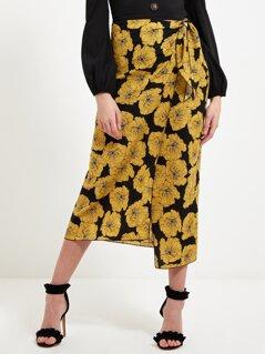 Knot Waist Contrast Stitch Trim Floral Wrap Skirt